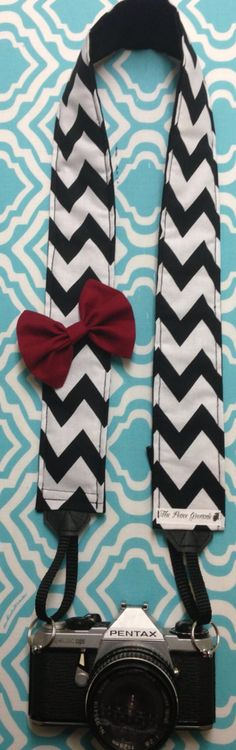 Black and white chevron striped camera strap with by PeaceGrenade, $30.00. THIS IS SOOOOO PERFECT!!!