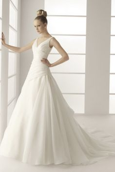 A-line V-neck Chapel Train Chiffon Wedding Dress with Pleats--$208.99