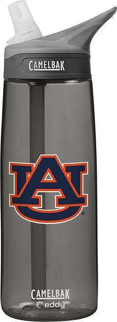 NCAA Auburn Tigers Unisex CamelBak Eddy 75L Collegiate Water Bottle, CHARCOAL, 75 Liter