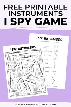 Fun music game for kids - free printable musical instruments themed I Spy game for kids Music Activities For Kids, Music Education Games, Free Games For Kids, Teaching Music, Physical Education, Educational Activities, Health Education, Movement Activities, Kids Education