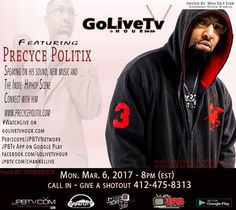 #watchLive 8pm 2NIGHT on JPBTv App Channel Live Golivetvhour feat @cyceboogieDj Who Da F Ever will be spinning the illest videos - show line up crazi tonight - and we got the interview with Precyce Politix :   ##hiphop #artist #illspittaz #interview #jpbtv #live #lyrics