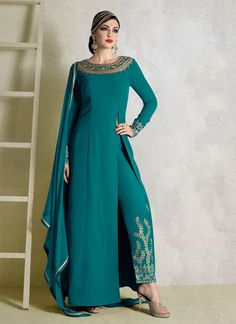 Teal Fancy Fabric Pant Style Suit