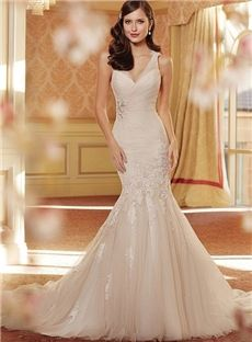 Vip Hot Custom Made New Style V Neck Mermaid Halter Wedding Dress Darwin