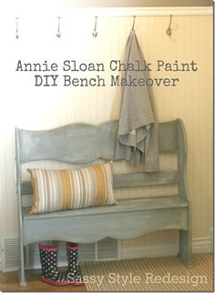 I want to try the Annie Sloan Chalk Paint at some point. ----> here's a bench made over w/ this chalk paint from the Sassy Style blog!