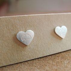 Cute Elephant   Heart Flat Stud Earrings   Silver Cute Design   High Quality by…
