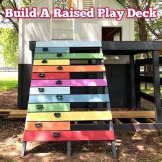 Backyard Fort, Backyard For Kids, Backyard Projects, Backyard Play Areas, Backyard Slide, Deck Slide, Kids Playset Outdoor, Kids Outdoor Play, Kids Play Area