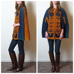 1970s SUEDE FLORAL APPLIQUE  cape by TheLovedOne on Etsy, $78.00