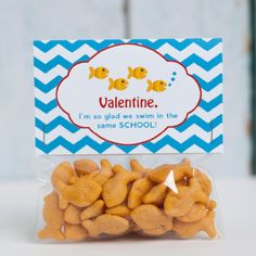 Custom Printable Goldfish Valentine Treat Bag Topper