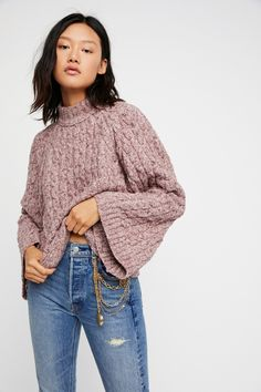 Snow Bird Pullover | Super cozy cable knit sweater featured in a boxy fit. * Wide long sleeves * Cropped to the natural waist * Ribbed trim