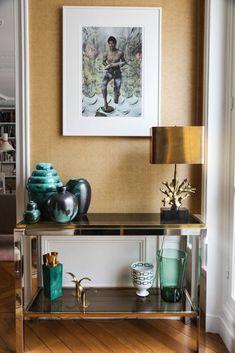 Entrée Céramiques bleues Luminaire Maison Charles Commode Photographies Bertrand Waldbillig Paris