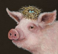 Vicki Sawyer Cards | Vicki Sawyer › Portfolio › Pig with nest hat