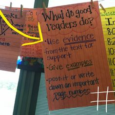 When wall space is limited, hang anchor charts on a clothesline in your classroom like this teacher did!  I love her short, effective charts!