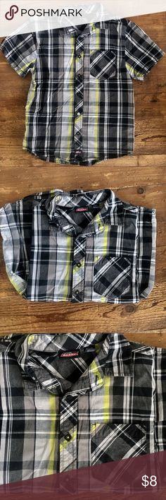 Dickies cool button-down shirt Dickies cool down shirt in excellent condition! Shades of black, gray, silver, and neon yellow in plaid. Size 10-12 in boys   Retail $25  BUNDLE FOR MORE SHIPPING POWER! PLEASE BROWSE MY AMAZING CLOSET! Shirts & Tops Button Down Shirts