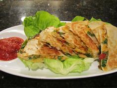 Chicken-Spinach-Sun Dried Tomato Quesadillas