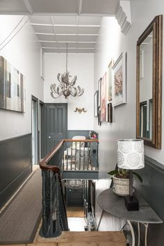 This was a large project, because the landing upstairs is huge. The walls above the stairs are very high, which also happily means that there's lots o Living Room White, White Rooms, Living Rooms, Edwardian Haus, Landing Decor, Victorian Hallway, Flur Design, Hallway Designs, Hallway Ideas