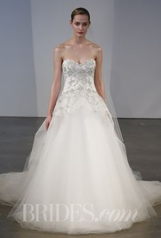 Marchesa - Spring 2014. Style B90813, floral light silver thread and crystal embroidery on corseted ballgown with tulle skirt, Marchesa