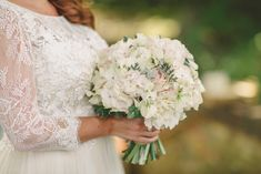 White hydrangeas take centre stage in this beautiful bridal bouquet