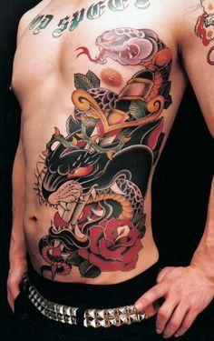 Your basic black panther, snake & dagger tattoo!