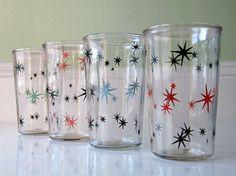Vintage Atomic Jelly Jar Juice Glasses, Starburst Drinking Glasses ...