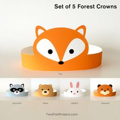 DIY Printable Forest Animal Paper Crowns: Fox, Rabbit, Bear, Beaver, Racoon. Perfect for craft party favors, kids party craft activities, toddler birthday party supplies and costumes.