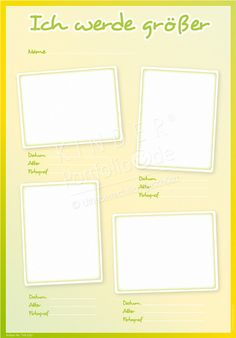 "Kindergarten Portfolio Vorlage ""Ich werde Größer"" Kindergarten Portfolio, Diy Projects To Sell, Toddler Play, Free Printables, Clip Art, Living Rooms, Wedding Ideas, Spaces, Learn German"