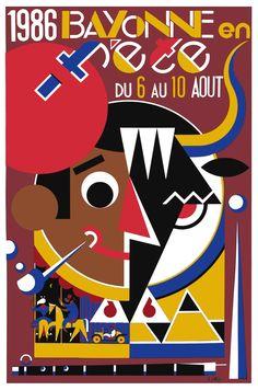 Affiche officielle fetes de bayonne 1986 - france