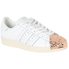Adidas Originals Metal Toe-Cap Superstar Sneakers ($120) ❤ liked on Polyvore featuring shoes, sneakers, 80s shoes, 80s sneakers, 80s footwear, leather shoes and metallic shoes