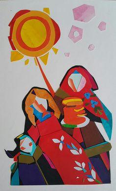 """Иллюстрация на тему: """"Масленица"""". Бумага/акрил/. Аппликация. 2018. Sveta Petleva. Paper art."""