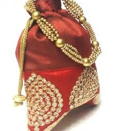 Buy Maroon hand woven Art Silk and Satin potli-bags potli-bag online