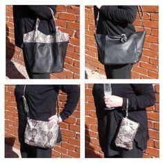 Black & Snakeskin Set of 3 Bags. Shopping/Tote bag, messenger bag/bag insert, makeup bag/evening purse. Black Handbags, Snake Skin, Make Up, Tote Bag, Lady, Collection, Fashion, Maquiagem, Moda