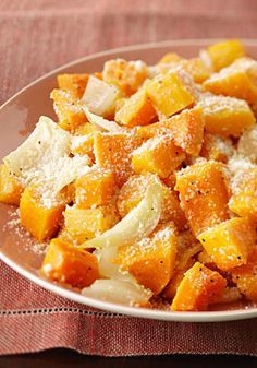 Butternut Squash Parmesan – In this recipe, butternut squash tossed with olive oil, onions, broth, and pepper casts a spell in the oven with a sprinkle of Parmesan cheese—creating a simple, yet wonderfully delicious fall side dish idea.