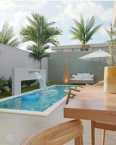 Small Backyard Design, Small Backyard Pools, Swimming Pools Backyard, Pool House Designs, Backyard Pool Designs, Outdoor Wall Fountains, Pool Landscape Design, Design Exterior, Home Building Design