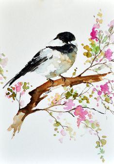 Peinture d'oiseau aquarelle originale, Mésange sur une branche, Art Floral coloré, aquarelle fleurs 6 x 8 pouces