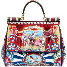 DOLCE & GABBANA Medium Sicily Puppet Print Dauphine Bag ($2,495) ❤ liked on Polyvore featuring bags, handbags, shoulder bags, multi, dolce gabbana shoulder bags, pattern purse, dolce&gabbana, pattern handbag and print purse