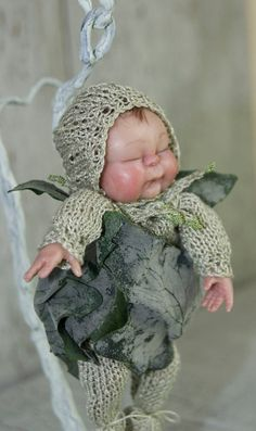 Ooak Fairy baby in  snuggle pod  Faerie art by TheWindowOfTheSoul, $280.00