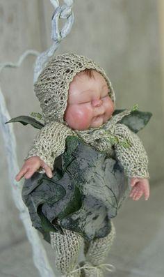 Ooak Fairy baby in  snuggle pod  Faerie art by TheWindowOfTheSoul,