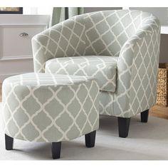 Brayden Studio Upholstered Barrel Chair and Ottoman & Reviews | Wayfair
