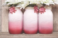 Pink and red mason jars.
