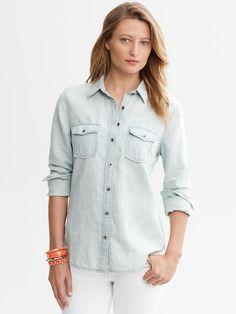 $79, Light Blue Denim Shirt: Banana Republic Light Wash Denim Shirt. Sold by Banana Republic. Click for more info: https://lookastic.com/women/shop_items/154869/redirect