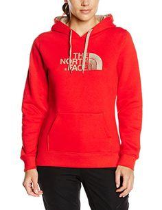 North Face Women's DrePeak Pullover Hoodie Sweatshirt - Red/Fiery Red, Large…