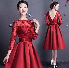 Nice Prom Short Dresses Vestido Vintage corto espalda descubierta rojo oscuro con encaje... Check more at https://24store.tk/fashion/prom-short-dresses-vestido-vintage-corto-espalda-descubierta-rojo-oscuro-con-encaje/