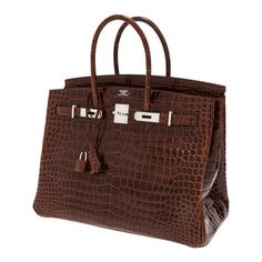 Hermes 35cm Shiny Miel Porosus Crocodile Birkin Bag with P ❤ liked on Polyvore