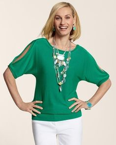 Sexy and comfortable...what a great combo! (Chico's Nora Open Shoulder Pullover #chicos)