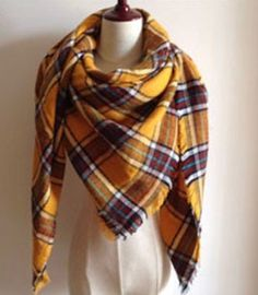 This extra soft scarf is perfect to keep you warm and stylish the whole winter and fall season. This scarf is plaid with a mix of mustard yellow and burgundy Si Tartan Plaid Scarf, Plaid Blanket Scarf, Buffalo Plaid Blanket, Bandanas, Family Photo Outfits, Family Photos, Fall Scarves, Professional Outfits, Pink Polka Dots