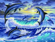 Paint By Number Kit Dolphin Fun Day Painting On Canvas Wood Frame Dolphin Painting, Dolphin Art, Diy Painting, Canvas Wood Frame, Dolphins Animal, Dolphins Tattoo, Paint By Number, Ocean Life, Ocean Ocean