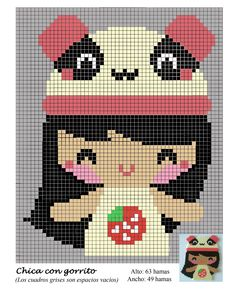 Girl with panda hat hama perler beads pattern