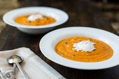 Sweet Potato Orange Soup - #paleo, and if you substitute coconut oil for bacon fat and veggie for chicken stock, #vegan
