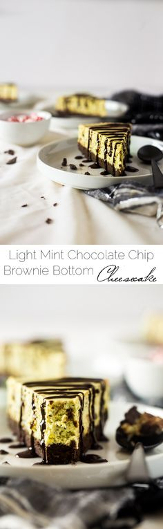 Gluten Free Brownie Bottomed Mint Chocolate Avocado Cheesecake - This creamy gluten free cheesecake uses avocado to make it naturally green. It has a rich brownie bottom crust and you'll never know it's secretly healthy! Perfect for Christmas! | Foodfaithfitness.com | @FoodFaithFit @ADAMideast