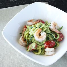 Zucchini Pasta with Creamy Avocado HealthyAperture.com