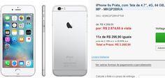 iPhone 6s Prata com Tela de 4.7 4G 64 GB e Câmera de 12 MP << R$ 287465 >>
